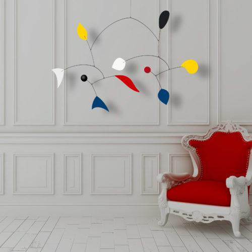 Parade, Mobile Décoratif Personnalisable De Style Calder Couleurs primaires Noir et Blanc Facile à Installer Décor Minimaliste Néo Rococo | Virvoltan