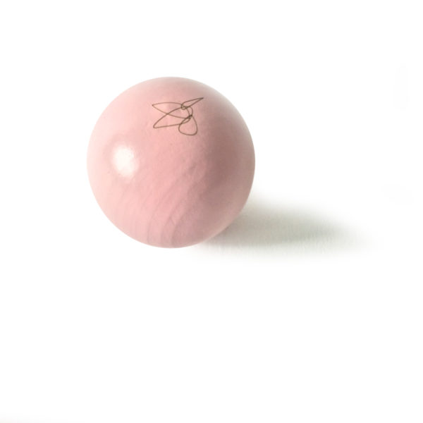 Pale pink lacquered beech ball, Virvoltan decorative mobile accessorie
