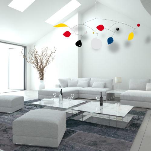 Parade XXL, Mobile Décoratif Géant Personnalisable De Style Calder Couleurs primaires Noir et Blanc Dans Un Loft Epuré | Virvoltan