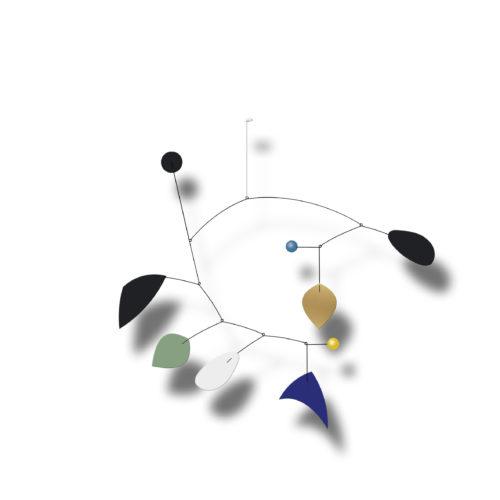 Mobile Calder Personnalisable Bleu Klein Vert Amande et Noir | Virvoltan