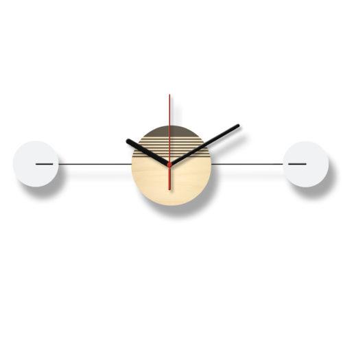 Horloge Murale Personnalisable Duo composée d'un disque de bois gravé et de deux pales d'acier laquées blanches Horizontale Verso | Virvoltan
