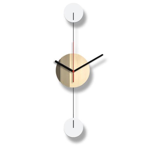 Horloge Murale Personnalisable Duo composée d'un disque de bois gravé et de deux pales d'acier laquées blanches Verticale Verso | Virvoltan