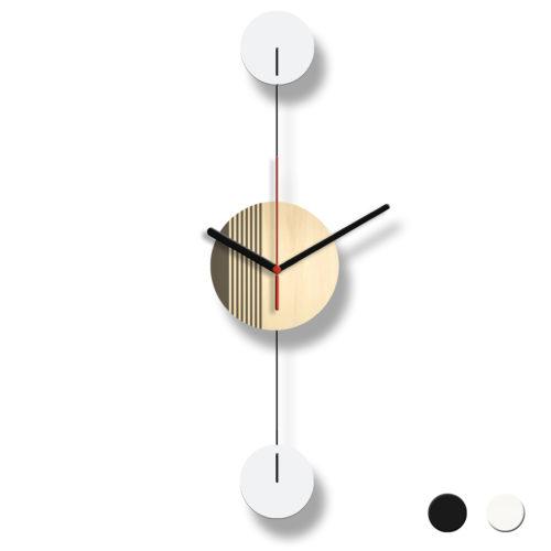 Horloge Murale Personnalisable Duo composée d'un disque de bois gravé et de deux pales d'acier laquées | Virvoltan