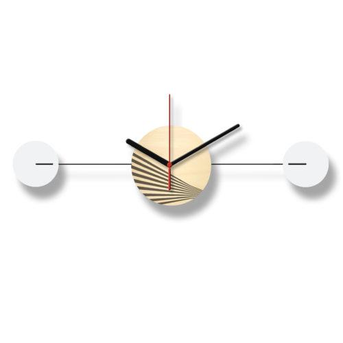 Horloge Murale Personnalisable Duo composée d'un disque de bois gravé et de deux pales d'acier laquées blanches Horizontale Recto | Virvoltan