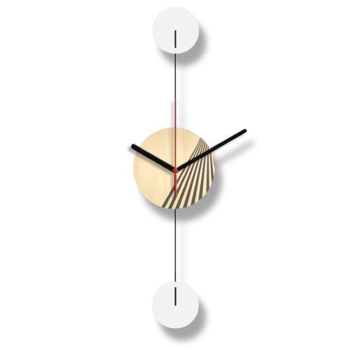 Horloge Murale Personnalisable Duo composée d'un disque de bois gravé et de deux pales d'acier laquées blanches Verticale Recto | Virvoltan