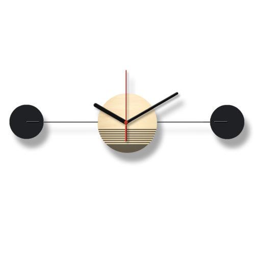 Horloge Murale Personnalisable Duo composée d'un disque de bois gravé et de deux pales d'acier laquées noires Horizontale Recto | Virvoltan