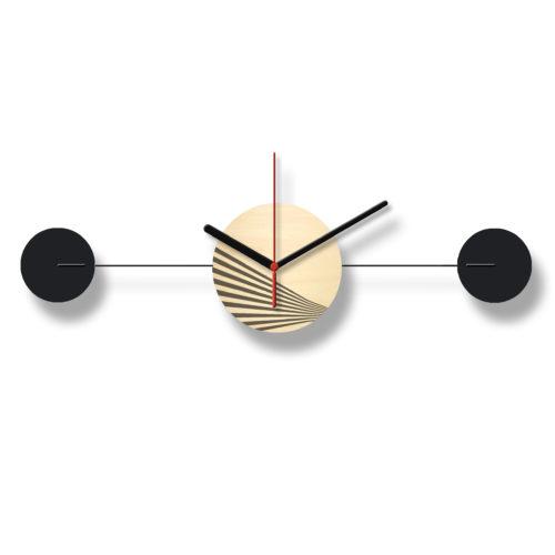 Horloge Murale Personnalisable Duo composée d'un disque de bois gravé et de deux pales d'acier laquées noires Horizontale Verso | Virvoltan