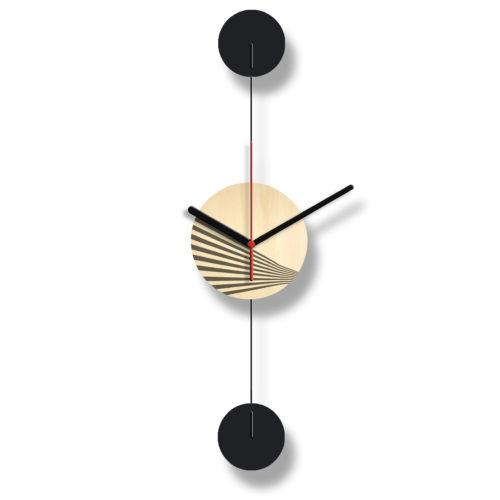 Horloge Murale Personnalisable Duo composée d'un disque de bois gravé et de deux pales d'acier laquées noires Verticale Verso | Virvoltan