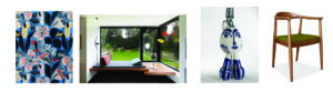 Papier peint(Raoul Dufy, Paul Poiret) / Mobile Virvoltan dans une villa bruxelloise Art déco / Pablo Picasso, Tripode, Céramique de Vallauries, circa 1950 / Déco Vintage_Chaise Hans Wegner CH20 (c) DR
