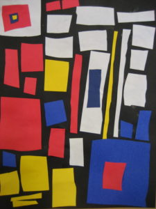 Example of collage by Piet Mondrian that inspired Calder and gave him the idea to design mobiles