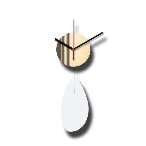 Horloge Murale Personnalisable Solo composée d'un disque de bois gravé et d'une pale d'acier laquée Blanc - Recto | Virvoltan