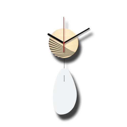 Horloge Murale Personnalisable Solo composée d'un disque de bois gravé et d'une pale d'acier laquée Blanc - Verso | Virvoltan