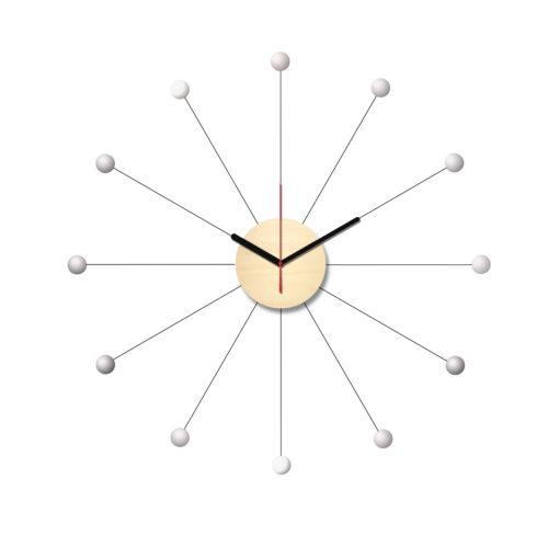 Horloge Murale Personnalisable Composée D'Un Cadran En Bois Et De Douze Billes Blanches En Bois Laqué Dans L'esprit De George Nelson | Virvoltan