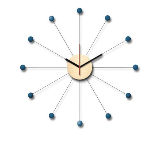 Horloge D'Inspiration George Nelson Composée D'Un Cadran En Bois Et De Douze Billes De Bois Laqué Bleu | Virvoltan