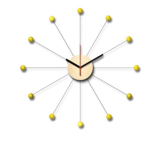 Horloge Inspiration Vintage Personnalisable Composée D'Un Cadran En Bois Et De Douze Billes De Bois Laqué Jaune | Virvoltan