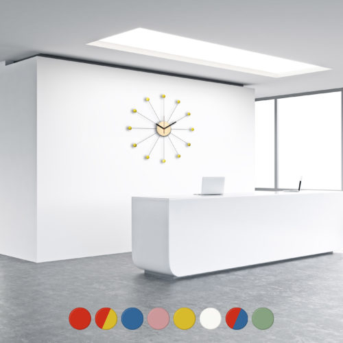Horloge Murale Personnalisable Sunny composée d'un disque de bois et de douze billes de bois laquées | Virvoltan