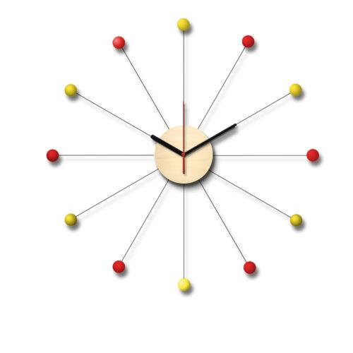 Horloge De Style George Nelson Personnalisable Composée D'Un Cadran En Bois Et De Douze Billes De Bois Laqué Jaunes Et Rouges | Virvoltan