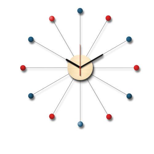 Horloge De Style George Nelson Personnalisable Composée D'Un Cadran En Bois Et De Douze Billes De Bois Laqué Bleues Et Rouges | Virvoltan