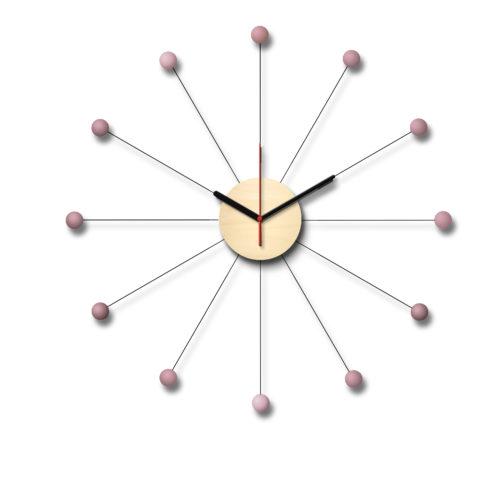 Horloge Type George Nelson Personnalisable Composée D'Un Cadran En Bois Et De Douze Billes De Bois Laqué Roses | Virvoltan