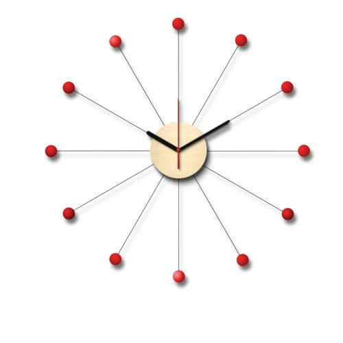 Horloge Inspiration Vintage George Nelson Personnalisable Composée D'Un Cadran En Bois Et De Douze Billes De Bois Laqué Rouge | Virvoltan