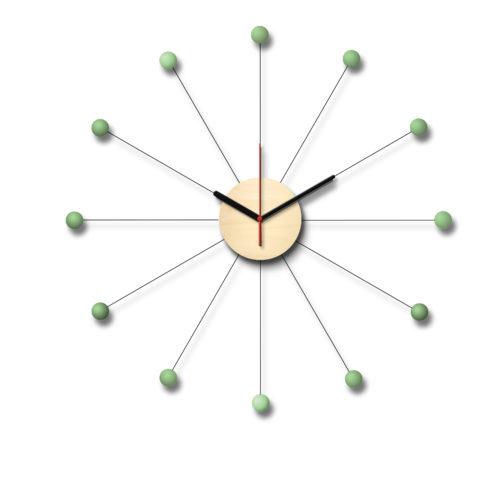 Horloge Murale Vintage Personnalisable En Forme De Soleil Composée D'Un Cadran En Bois Et De Douze Billes De Bois Laqué Vert Amande | Virvoltan